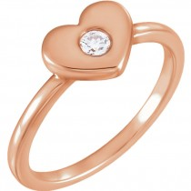 14kt Rose 1/10 CTW Diamond Heart Ring 12282