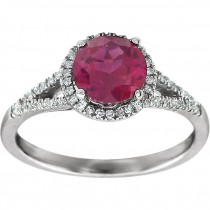 Matthew Ryan Design 14K White Gold 1/5 ct tw Diamond & Round Created Ruby Birthstone Ring 651300