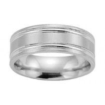 8mm 14kt White Gold Flat Comfort Fit Satin Band