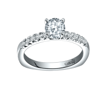 Caro 74 Designer Engagement Ring with 0.16 ct in Round cut side diamonds in 14KT White Gold  CR304W