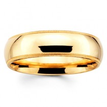 6mm Benchmark Yellow Gold Comfort Fit Milgrain Band