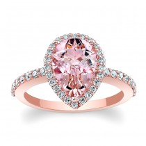 Morganite Pear Shape Barkev's Halo Engagement Ring in 14KT Rose Gold with 0.38 ct Round Side diamonds MOC-7994LPW