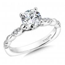 Valina Designer Diamond Engagement Ring in 14KT White Gold with 0.11 ct in side diamonds R9331W