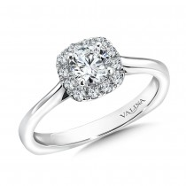 Valina Designer Round Diamond Engagement Ring in 14KT White Gold with 0.14 ct in side diamonds R9452W