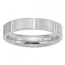 4mm 14K White Gold Flat Comfort Fit Band