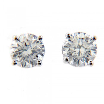 1.00 ct Round cut diamond total weight stud earrings in 14KT White Gold with screw backs MRD10055