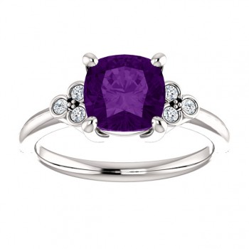 Matthew Ryan Design 14K White Gold 7x7mm Genuine Amethyst Cushion Cut & 1/6 ct tw Diamond Ring 71586