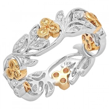R813-D,YS FLORAL BAND WITH DIAMOND BEZEL CLUSTER