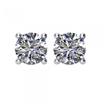 Matthew Ryan Design 14K White Gold 1/4 ct tw 4-Prong Basket-Style Friction Post Setting Stud Earrings MRD1025