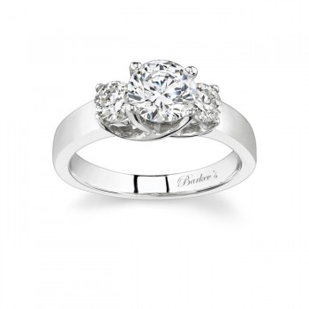 Barkev's Designer Round Cut Diamond 3 Stone Engagement Ring in 14KT White Gold with 0.50 ct in Round Diamonds 4191LW