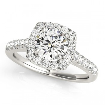 Charles and Colvard Moissanite 6.5 MM Round Cut Halo style Diamond Engagement Ring in 14KT White Gold