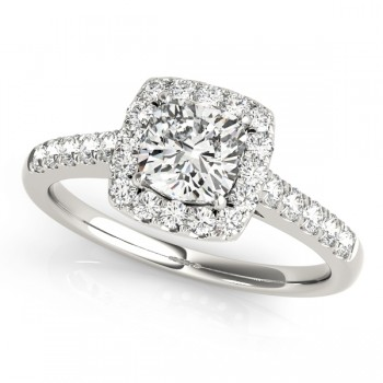 Charles and Colvard Moissanite 5.5 MM Cushion Cut Halo style Diamond Engagement Ring in 14KT White Gold MR50778