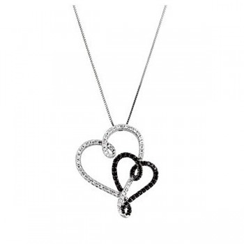 0.50 ct Round Cut Black and White Diamond Heart Shape Necklace with 18 inch Chain 69472:100