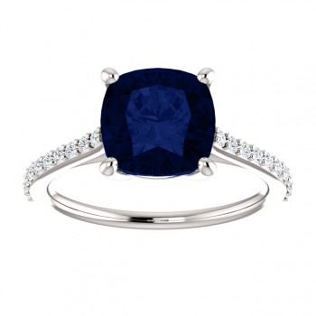 Matthew Ryan Design 14K White Gold 8x8mm Chatham Blue Sapphire Cushion Cut & 1/5 ct tw Diamond Ring 71609