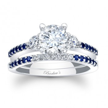Barkev's Diamond Engagement Ring in 14KT White Gold with 0.37 ct of Round Cut Diamonds and 0.24 ct in Round Blue sapphires 7539SBSW