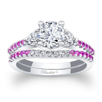 Barkev's Designer Round Cut Diamond Engagement / Bridal set Ring in 14KT White Gold with 0.37 ct in side Diamonds and 0.24 ct in Pink Sapphires 7539SPSW