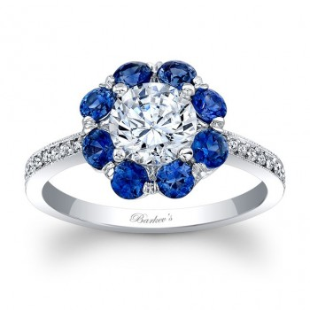 Barkev's Designer Blue Sapphire Engagement Ring in 14KT White Gold with 0.10 ct Round cut side diamonds and 0.80 ct Round blue sapphires 7661LBSW