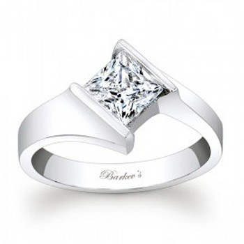 Barkev's Designer Princess Cut Solitaire Diamond Engagement Ring in 14KT White Gold 7824LW