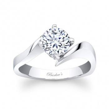 Barkev's Designer Round Cut Diamond Solitaire Engagement Ring in 14KT White Gold 7828LW