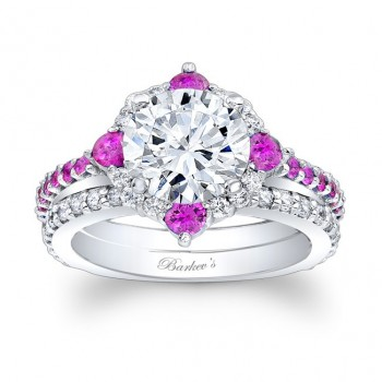 Barkev's Designer Diamond and Pink Sapphire Halo Bridal set Ring in 14KT White Gold with 0.68 ct in diamonds and 0.76 ct in Pink Sapphires 7967SPSW