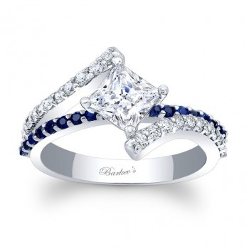 Barkev's Designer Princess Cut Diamond Engagement Ring in 14KT White Gold with 0.33 ct in side Diamonds and 0.24 ct in Blue Sapphires 7976LBSW