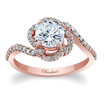 Barkev's Designer Engagement Ring in 14KT Rose Gold with 0.43 ct Round cut side diamonds 7982LPW