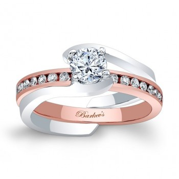 Barkev's Designer 2 piece Bridal Set Ring in 14KT White and Rose Gold with 0.20 ct Round cut side diamonds 8000STW
