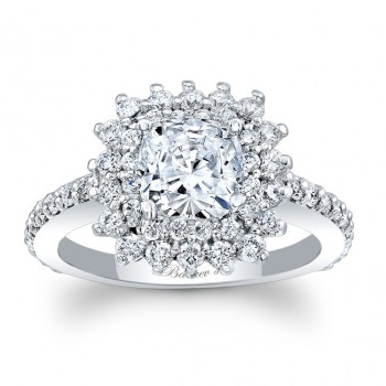 Barkev's Designer Cushion Cut Engagement Ring in 14KT White Gold with 1.05 ct of Round Cut side diamonds 8001LW