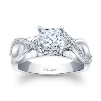 Barkev's Designer Princess Cut Engagement Ring in 14KT White Gold with 0.20 ct in Round Diamonds 8018LW