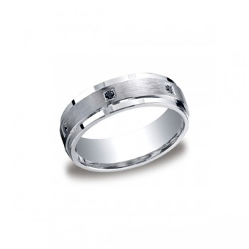 Diamonds Argentium Silver 7mm Black Diamond Band