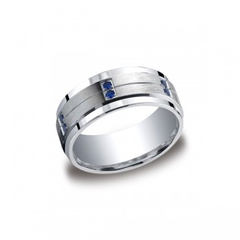Diamonds Argentium Silver 9mm Sapphire Band