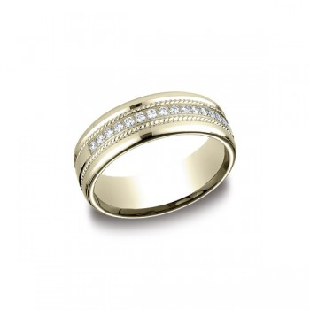 Diamonds Yellow Gold 7.5mm Diamond Band