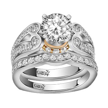 Caro74 14K White Gold Diamond Engagement Ring Setting CR123PW