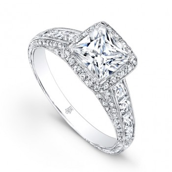 Beverly Kay Designer Princess Cut Halo Engagement Ring in 18KT White Gold with 0.61 ct in side diamonds RTJ010(A)-D,D,CZ