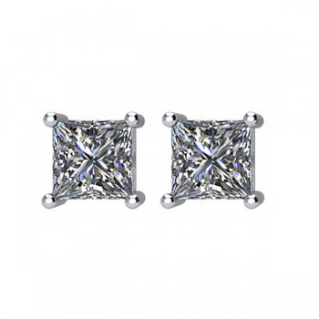 Matthew Ryan Design 0.50 carat Total Weight Princess Cut Diamond Stud Earrings in 14KT White Gold with Screw Backs MRD 66232:60006