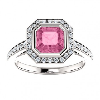 Matthew Ryan Design 14K White Gold 1/3 CTW Asscher Cut Pink Sapphire Engagement Ring 122052:70000