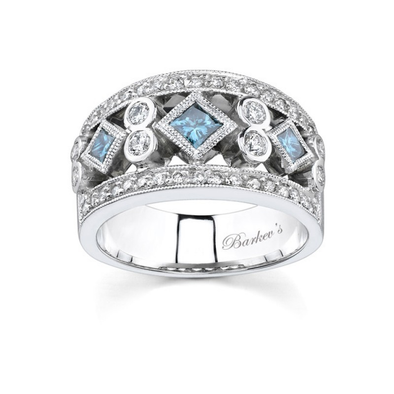 Barkev\'s White Gold Band With White & Blue Diamond