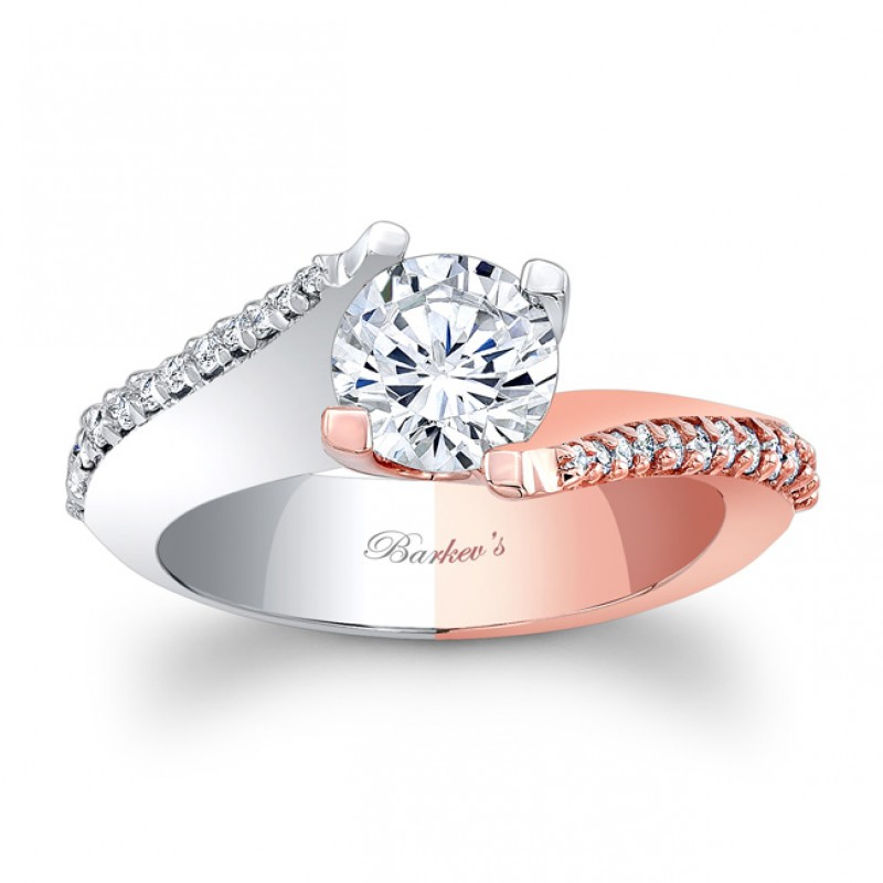 Two Toned Enement Rings | Barkev S Designer Diamond Engagement Ring In 14kt Two Toned Gold