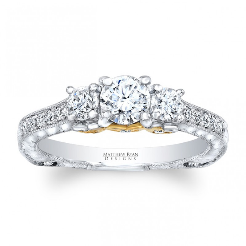 Matthew Ryan Designs 14KT White Gold Diamond 3 Stone Engagement Ring with  0.74 ct in side diamonds MRDG-263 f75945fead