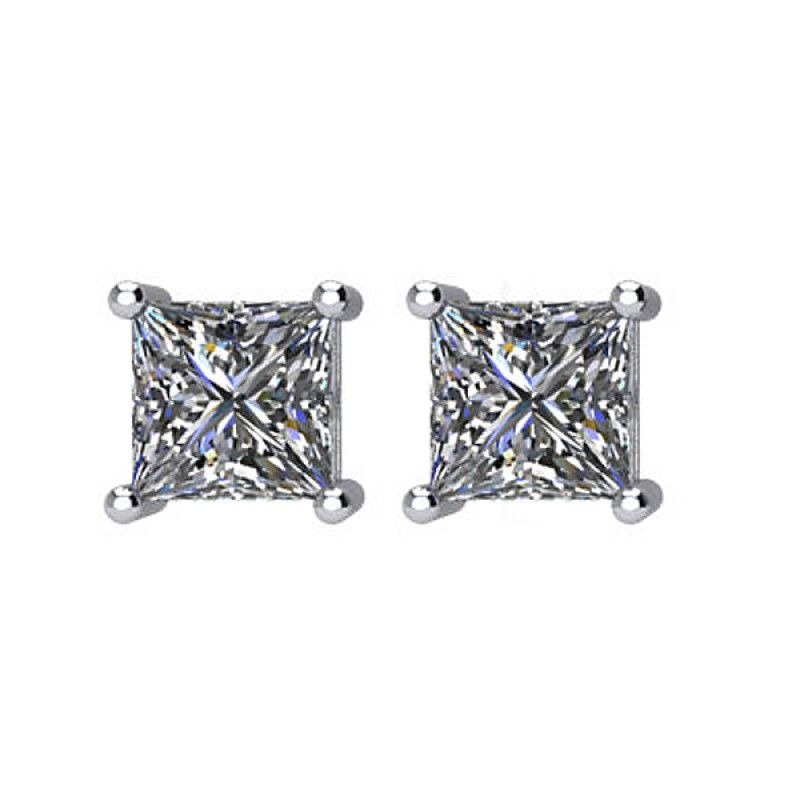 gold i stud white diamond si earrings halo princess h cut in