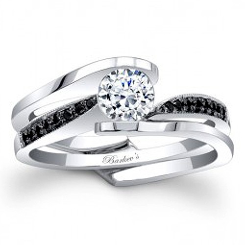 barkev s black diamond bridal set 7327sbkw - Black And White Wedding Rings