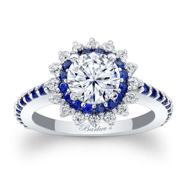 designer halo diamond engagement ring in 14kt white gold with 074 ct in round cut white diamonds and blue sapphires 7969lbsw