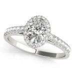 Charles and Colvard Moissanite 7x5 MM Oval Cut Halo style Diamond Engagement Ring in 14KT White Gold MR50917