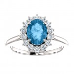 Matthew Ryan Designs Oval Cut Genuine Swiss Blue Topaz Halo-Style and 3/8 ctw Diamond Ring 14KT White Gold 71606