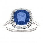 Matthew Ryan Design 14K White Gold 8 x 8 mm Cushion Cut Blue Sapphire & 1/6 ct tw Diamond Engagement Ring 71608
