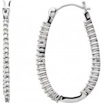 14K White Gold with 0.25 ct total Weight of Round Cut Diamond Inside and Outside Hoop Earrings MRD 61226:2462780
