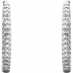 14K White Gold 0.50 ct tw Diamond Hinged Inside and Outside Hoop Earrings MRD 61378:2594490