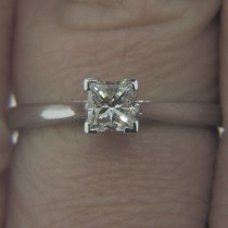 Ninacci Design Solitaire Diamond Engagement Ring in 14KT White Gold with 0.37 ct Princess Diamond Center 24849