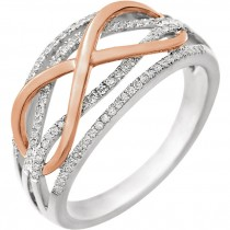 14kt White & Rose Gold Infinity Diamond Ring with 1/4 CT total weight in diamonds size 7.00 652038