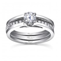 White gold diamond engagement ring set - 7491SW